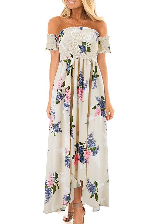 8e7556523414 Online Cheap wholesale Genhoo Women Off The Shoulder Floral Split Boho  Chiffon Maxi Beach Dress Dresses Suppliers