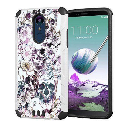 (Capsule Case Compatible with LG Stylus 4, LG Stylo 4 (Year 2018) Hybrid Dual Layer Silm Defender Armor Combat Case Black White for LG Stylo 4 - (Messy)