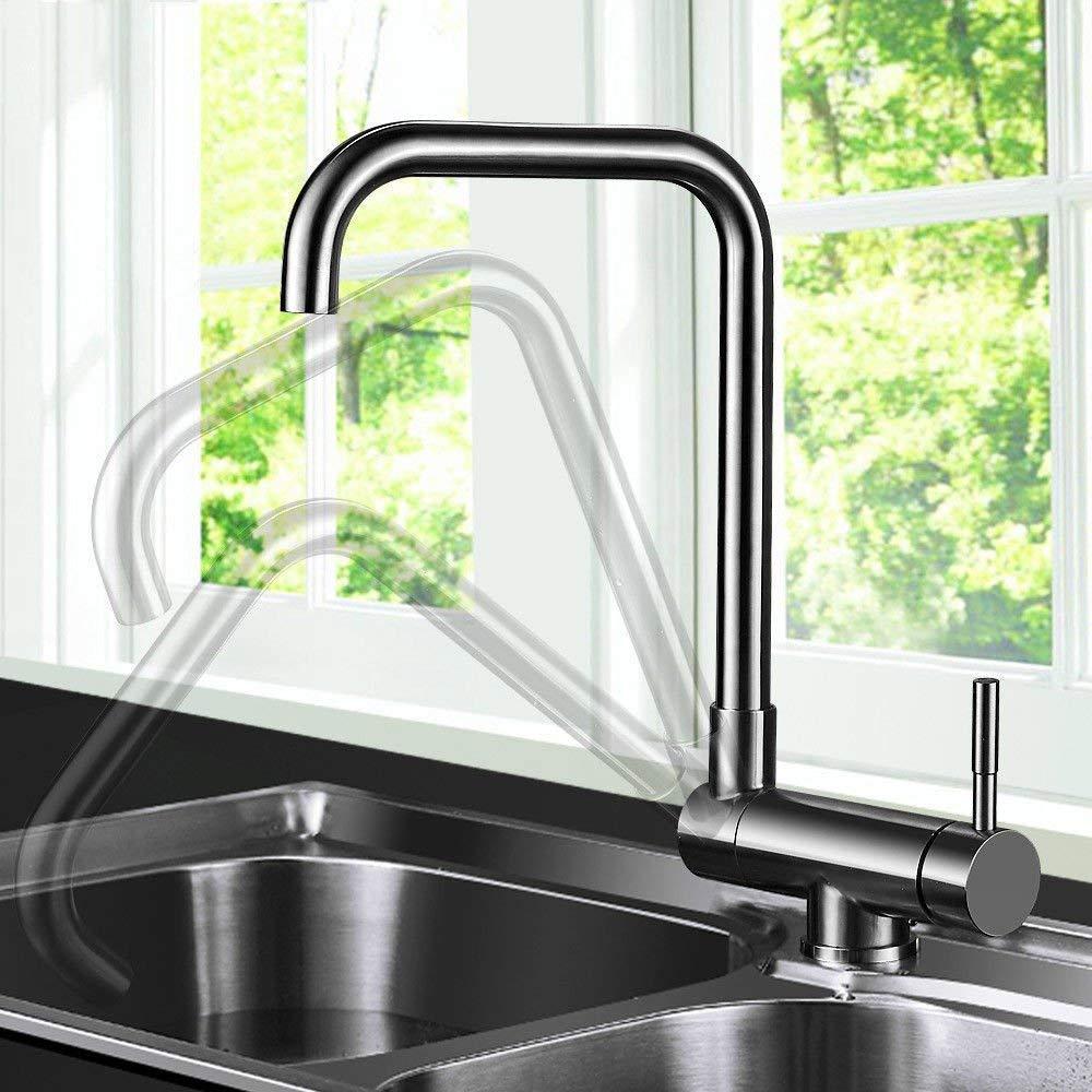 Eeayyygch Küchenarmatur Waschbecken Mischbatterien Waschbecken Mischer heiß und kalt 304 Edelstahl Klapp Schwenkauslauf Waschbecken Wasserhahn (Farbe   -, Größe   -)
