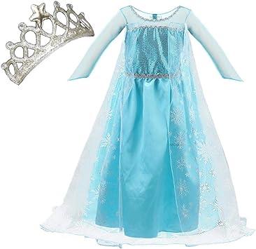 ReliBeauty Costume Elsa Frozen Bambina Vestito Principessa Bambina Carnevale Cosplay,11 Anni 140 ,con Accessori