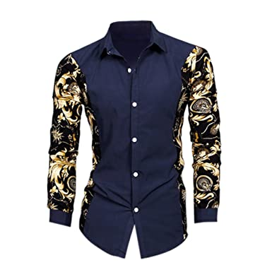 cdc58e73aa3 Rrimin Hot Men Fashion Luxury Casual Slim Fit Stylish Long Sleeve Dress  Shirts Top  Amazon.in  Clothing   Accessories