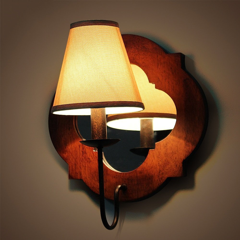 HOMEE Wall lamp- wood antique wood wall lamp american - style wooden country bedroom bedside chinese - style living room wall lamp --wall lighting decorations by HOMEE