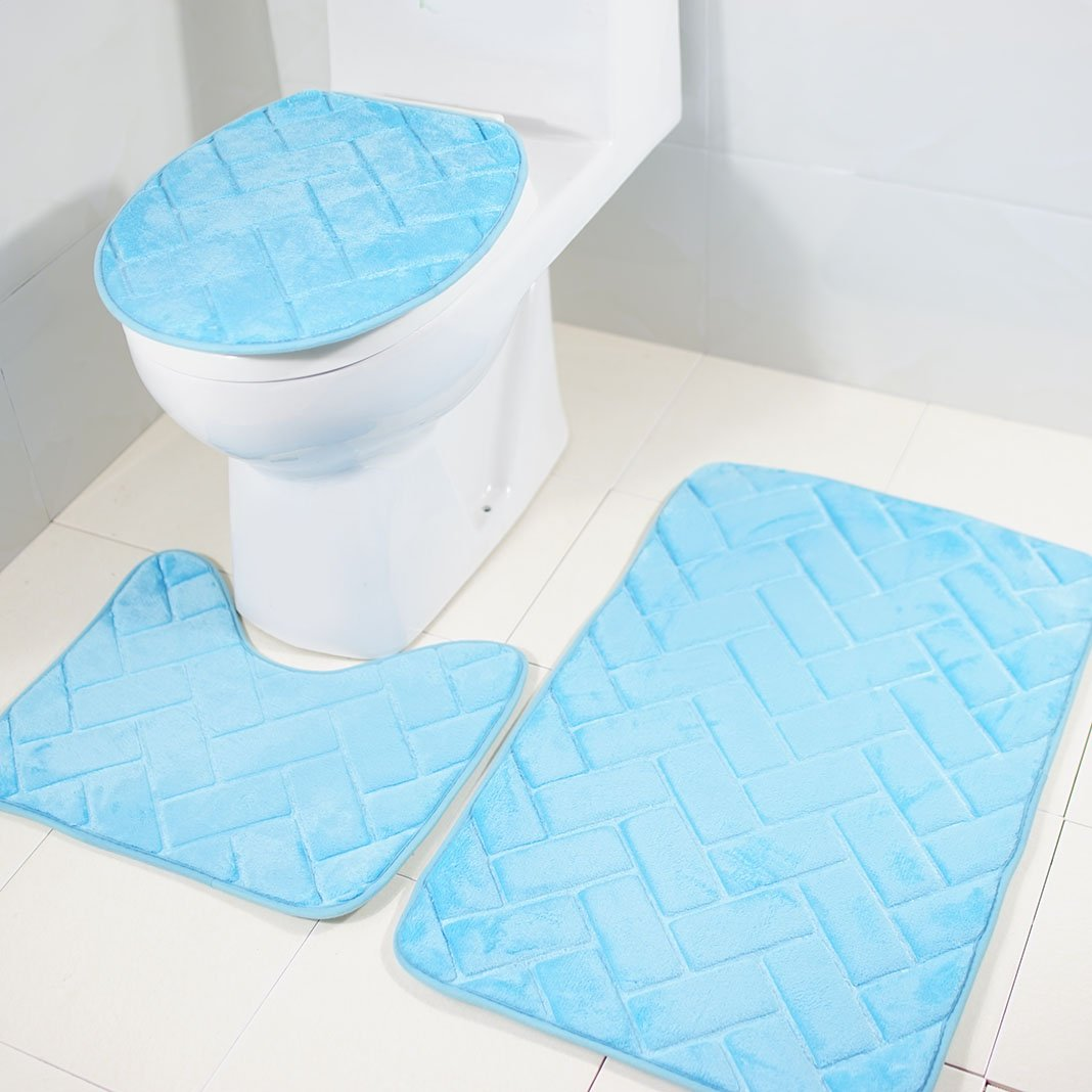 Badematten Duschmatte Waschbare Badezimmer Badteppich 3 Teiliges