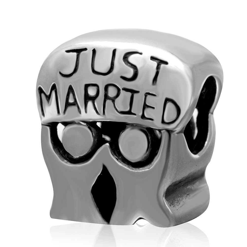Just Married Lover Couple Charm 925 Sterling Silver Bead Fit European Brand Charms