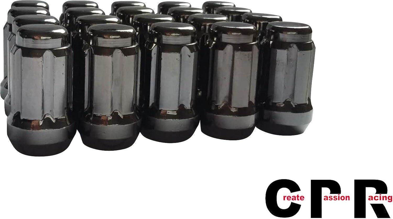 CPR Cerrar Ended llaves de acero poste de rueda tuercas 20/unidades con clave M12/x 1,25 color negro