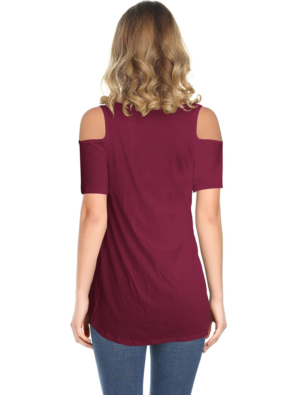 35690d417167 Amoretu Casual Cute Short Sleeve T Shirts V-Neck Tops for Women (Burgundy,  M) - 4326CTM < Knits & Tees < Clothing, Shoes & Jewelry - tibs