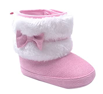 Amazon.com : Aivtalk Baby Girl Cute Fur Moccasins Boots Toddler Soft Sole Prewalker Winter Warm Walking Snow Shoes With Bowknot Size 16 Pink : Baby