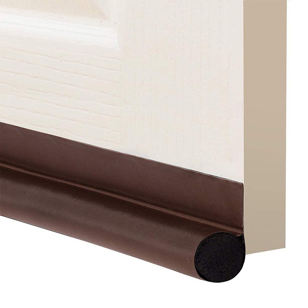 """IFXF Door Draft Stopper 36"""" : One Sided Door Insulator with Hook and Loop Self Adhesive Tape Seal Fits to Bottom of Door/Door Weather Stripping (Brown)"""