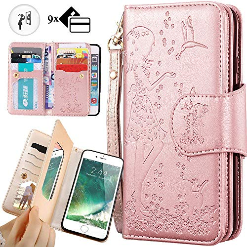 iphone XR Wallet Case for Women,iphone XR Purse Case,Auker Trifold 9 Card Holder+Makeup Mirror Embossed Leather Folio Flip Magnetic Wallet Case with Strap/Kikcstand for Women iphone XR 6.1