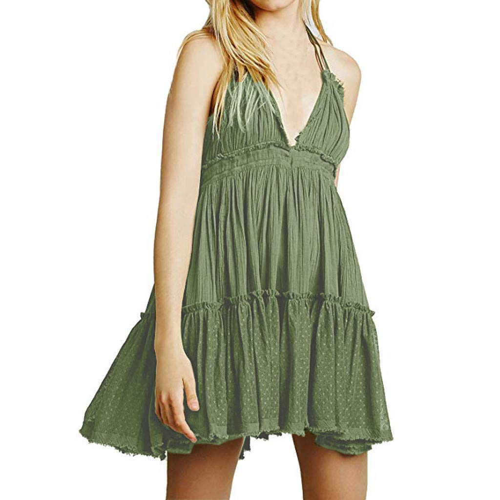 Womens Mini Skater Dress Summer Boho Deep V Neck Sexy Backless Ruffles Short Dresses Green