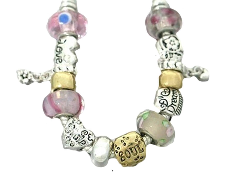 Love Heart Charm Bracelet BJ Murano Glass Beads