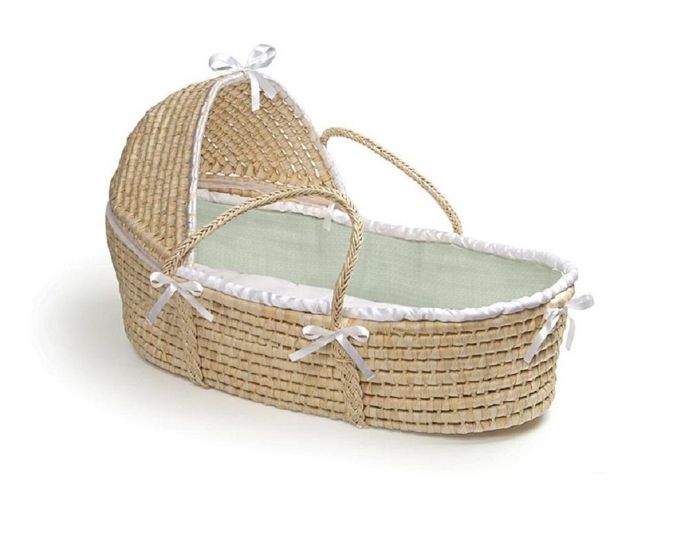 Hooded Moses Basket Natural/Sage Waffle