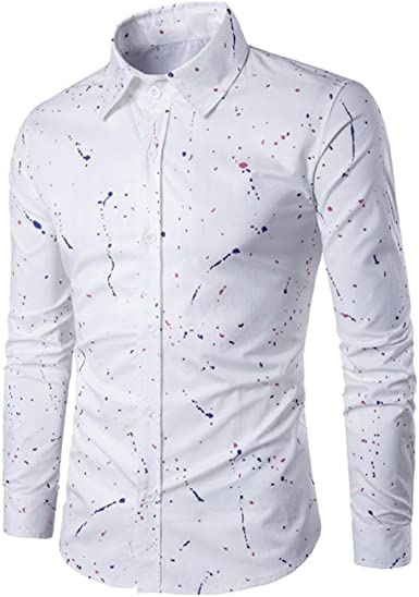 KEERDS - Camisa de manga larga para hombre, diseño de lunares