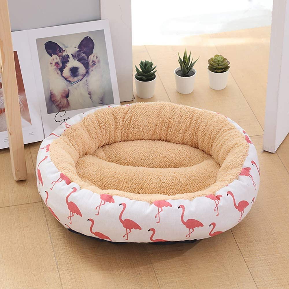 LCSD Dog Bed Simple y Elegante Beige/White + Flamingo Kennel Cat Litter Pequeño Perro Mediano Pet Nest Dog Pad 50 * 50 * 14cm