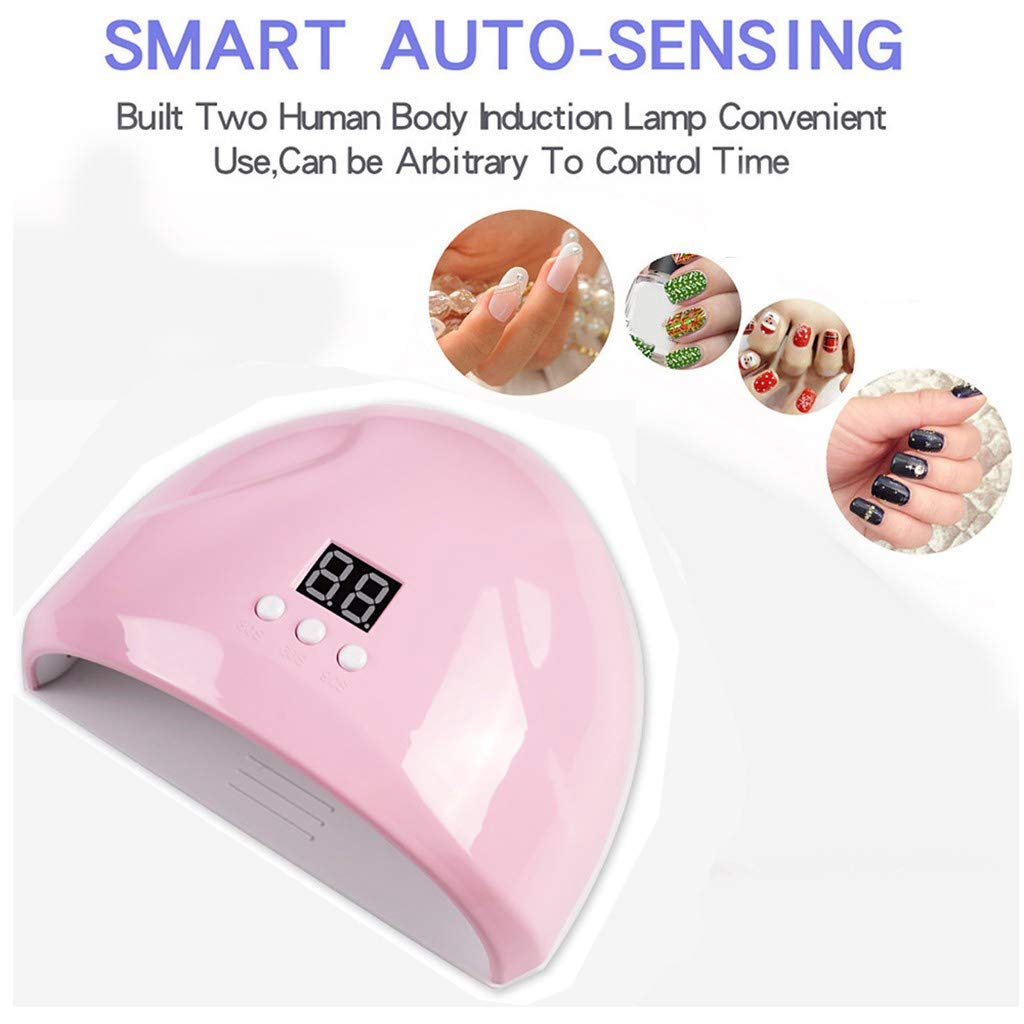 Mini Gel Nail Lamp - 12 UV LED Nail Dryer - 36W Portable Phototherapy Machine USB Nail Gel Curing Nail Art Machine Lamp Light Nail Gel Polish Dryer (3 Timer, Pink) by Dacawins