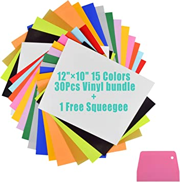"16 Colors 20Pcs Heat Transfer Vinyl 12/"" x 10/"" Sheets T-Shirt HTV Iron On Bundle"
