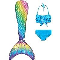 DNFUN 3pcs Traje de Baño de Cuello Hálter con Cola de Sirena Bikini Set para Niña