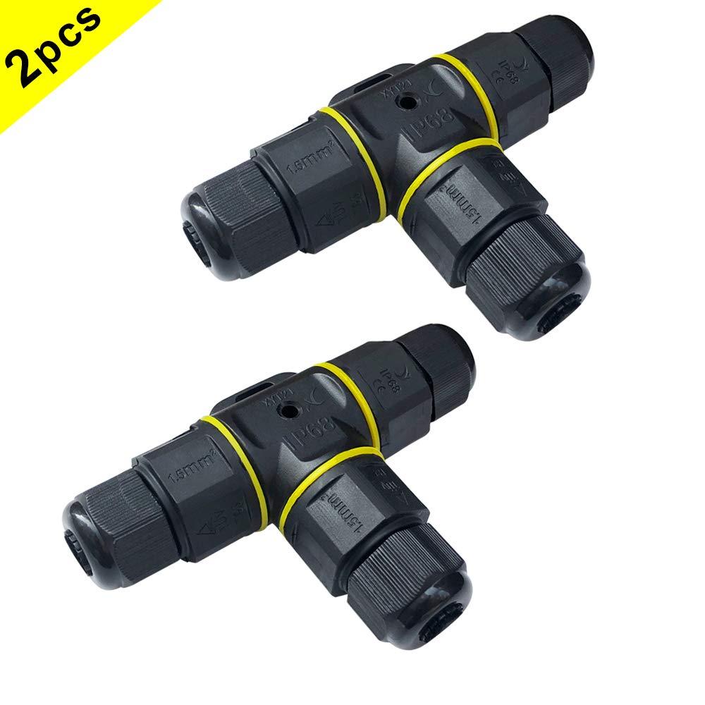 Noir, PA66 QitinDasen 2Pcs Premium Bo/îtes de Jonction T-Forme Connecteurs Bo/îtier /Électrique Ext/érieur 5~9mm Connecteur /Étanche IP68 3 Broches Connecteur de C/âble