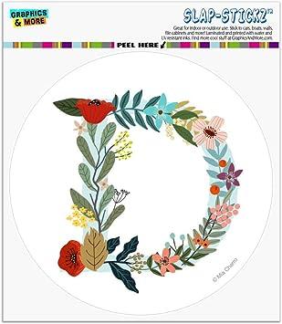 Letter C Floral Monogram Initial Automotive Car Vinyl Circle Magnet