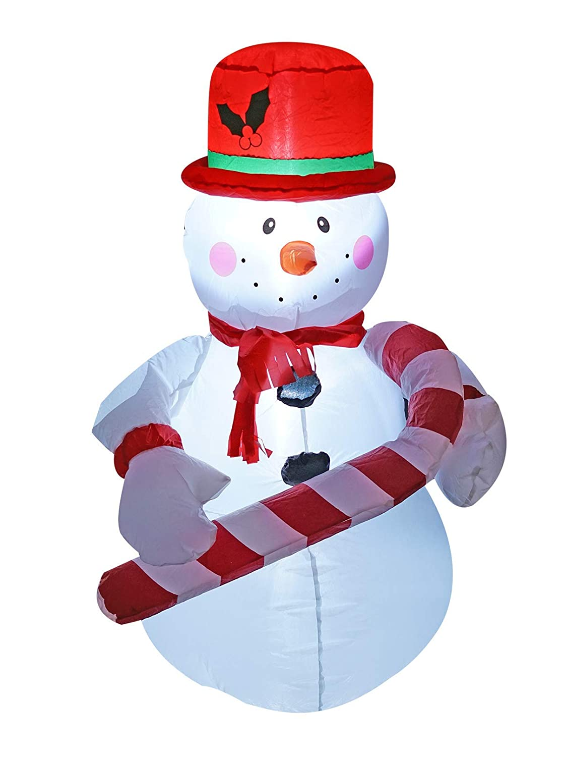 4 Ft Inflatable Christmas Snowman hold a Candy Cane Decoration for Indoors Outdoors Home Yard Lawn Garden Decor JF Deco