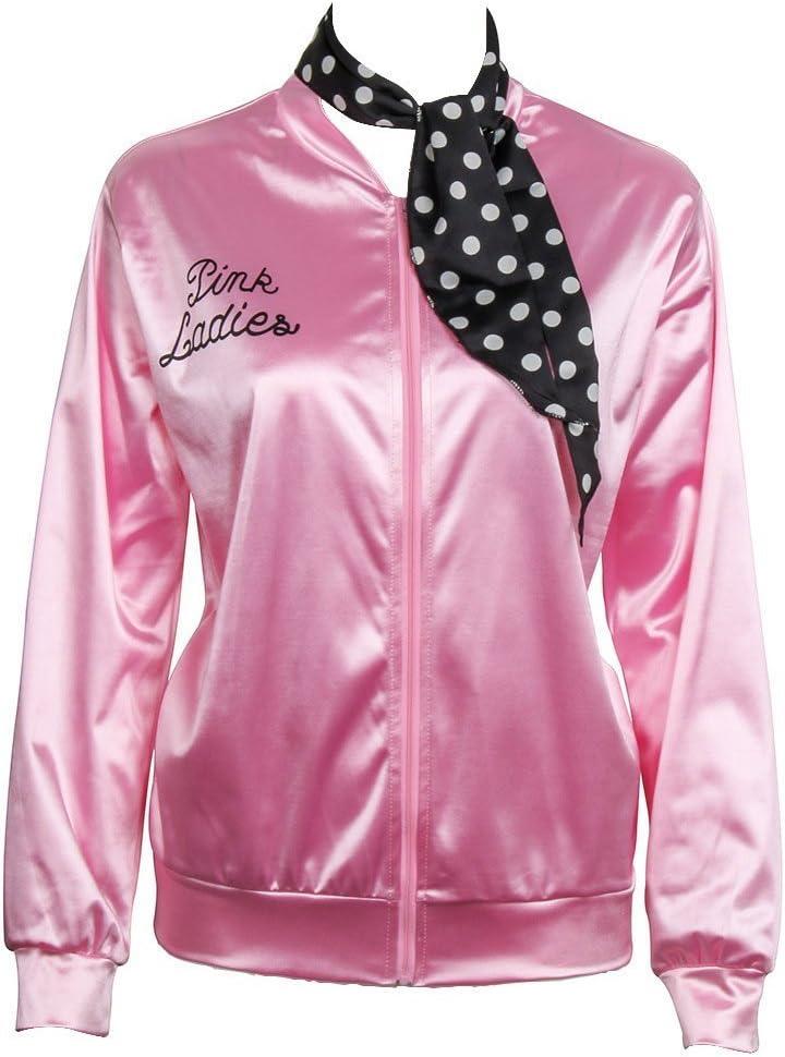 Nofonda Halloween Kost/üm Party Rock n Roll X-Small Pink Jacke aus Satin mit Polka Dots Schal Ladies Pink schicke Jacke 50er 60er 70er Jahre Damen Kost/üm