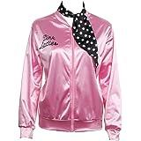 Grease Chaqueta de pink satén Disfraz de Lady Danny con pañuelo de lunares Cazadora para mujer Disfraces de 1950s ladies para Carnavales Halloween Color rosa - Nofonda (XL)