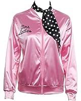 Déguisement Femme Blouson gilet Veste Jacket Pink Graisse Fancy Dress Ladies avec foulard années 50s Halloween Costume de fantaisie, Rose