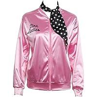 Nofonda Chaqueta de Pink satén Disfraz de Lady con pañuelo de Lunares Cazadora para Mujer Disfraces de 1950s Ladies para…
