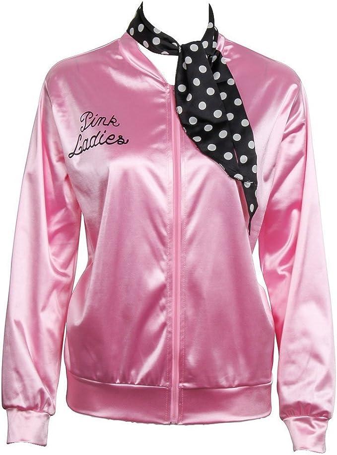 Ladies Giacca in raso Giubbotto rosa con sciarpa in polka dot 1950s Costume Lady Giacche donne Pink per feste mascherate Halloween Nofonda