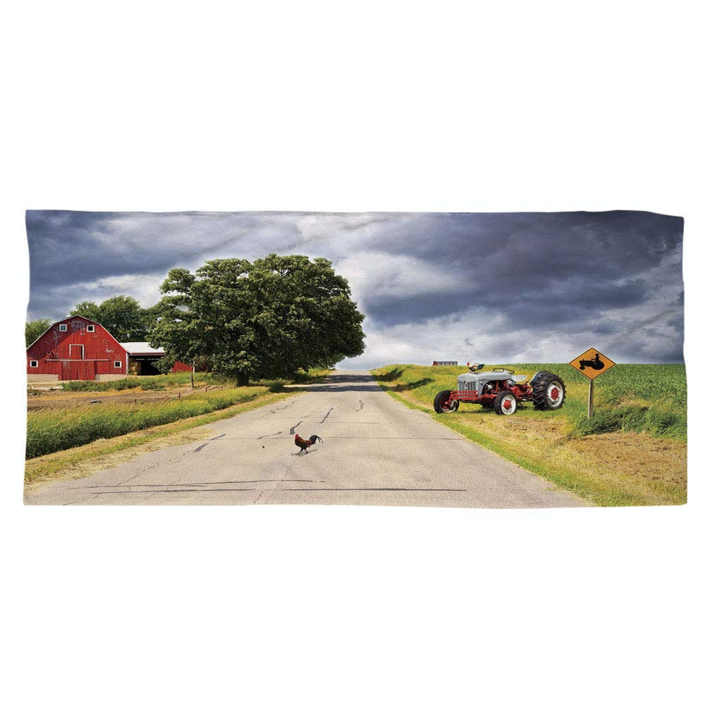 iPrint Large Cotton Microfiber Beach Towel,Rural Decor,Farmhouse on Country Road with Barn and Tractor on Side in Stormy Day Picture,Multicolor,for Kids, Teens, and Adults