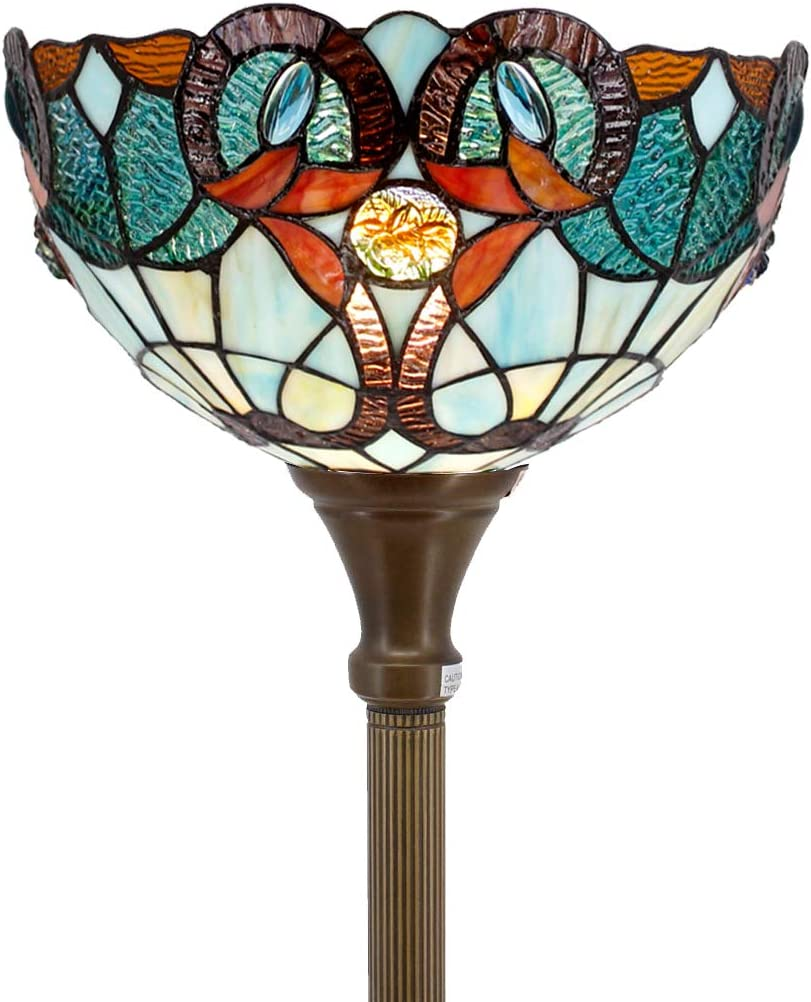 Tiffany Style Torchieres Floor Lamp Hummingbird Design Table Desk Standing Lighting Wide 12 Tall 66 Inch Stained Glass Lampshade for Living Room Bedroom Antique S101 WERFACTORY