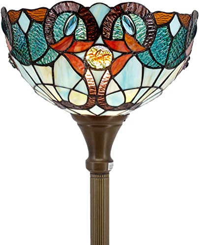 Tiffany Floor Lamp Torchiere Up Lighting W12H66 Inch Green Blue Stained Glass Floral Lampshade Antique Standing Iron Base 1E26 Foot Switch S802 WERFACTORY Living Room Bedroom Home Office Decoration