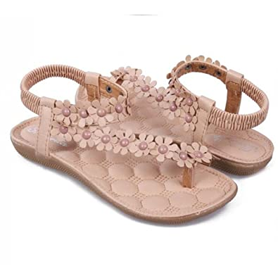 ac1fb147a Women s Bohemian Flat Shoes Sandals Beading Shoes Fashion Leisure Summer  Gladiator Sandals Flower Woman Daily Footwear