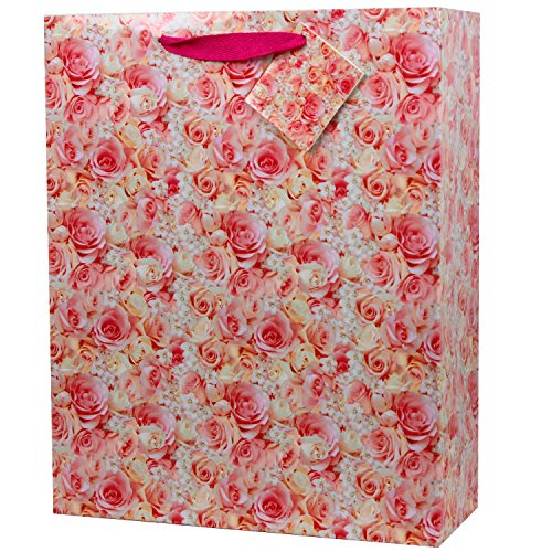 Fzopo 6 Pcs Large Gift Bags with Tags for Wedding, Bridal Shower, Birthday, All Occasion (Pink Rose)