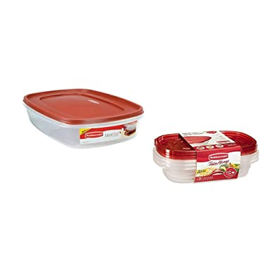Rubbermaid Easy Find Lid Food Storage Container, BPA-Free Plastic, 1-1/2 Gal plus 3 Take Alongs - 3.7 Cups Divided Rectangle + Lids 8 piece set!