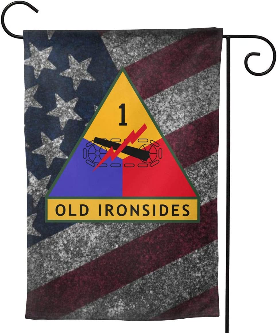 "CHANGQUDD 1st Armored Division Garden Flag Welcome Banner for Patio Lawn Party Yard Home Outdoor Decor, On Both Sides, 12.5""X18"" / 28""X40"""