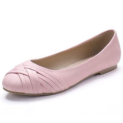Allegra K Damen Kreuz Riemen Rund Kopf Elegant Ballet flache Schuhe Ballettschuhe Pink EU 37.5