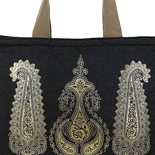 Shimmer fibra naturale iuta Tote Bag con oro Paisleys grafica con trapuntato imbottito Fodera