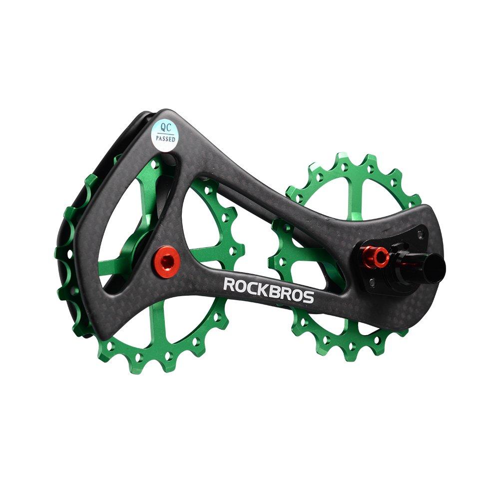 ROCKBROS(ロックブロス)17T ディレイラープーリー ビッグプーリー カーボン 自転車プーリー 20インチ以上 SHIMANO6800/6870/9000/9070Ultegra/DURA ACE等対応 B0753BSR3J グリーン グリーン