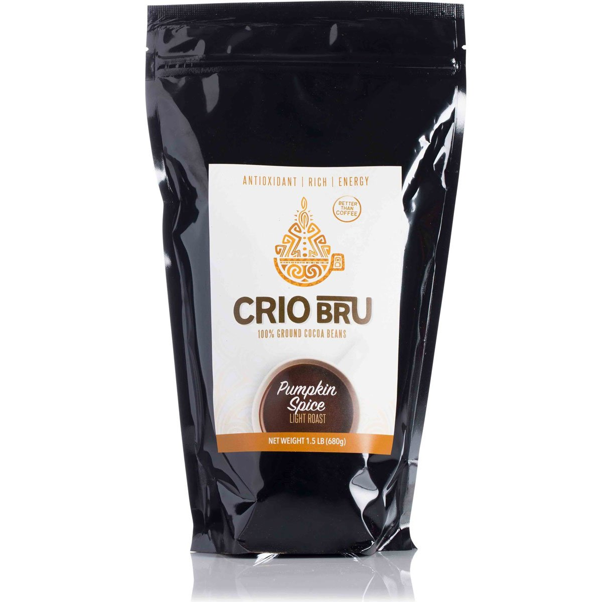 Crio Bru Pumpkin Spice Light Roast 24oz (1.5 lb) Bag | Organic Healthy Brewed Cacao Drink | Great Substitute to Herbal Tea and Coffee | 99% Caffeine Free Gluten Free Whole-30 Low Calorie Honest Energy