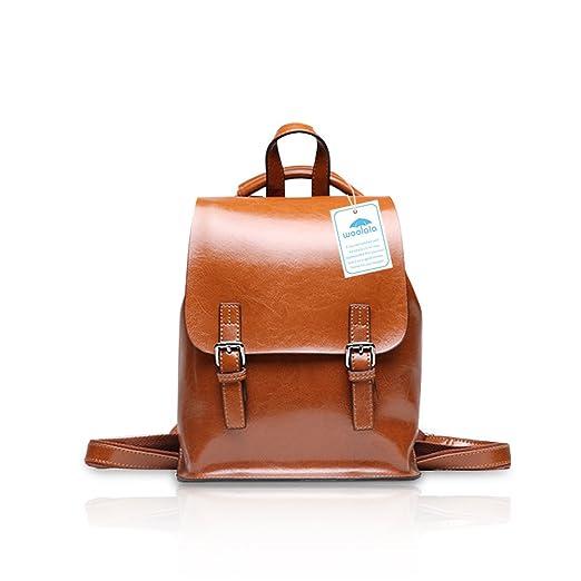 0b7a4d79348d7 Yoome Vintage Öl-Wachs Leder Rucksack Multifunktions Geldbörse für Frauen  Schultasche für Mädchen Reisen Bga