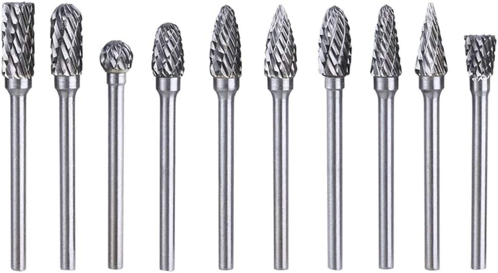"Wolfride 10pcs 1/8"" Shank Double Cut Rotary Burr Set for Dremel Rotary Tool Tungsten Carbide Cutter Rotary Burr Set for Metal Polishing,Carving"