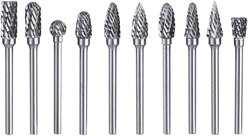 10 Pcs Tungsten Carbide Double Cut Rotary Burr Set Double Cut Tungsten Carbide Rotary File Cutting Burs Tool Rotary with 3 mm Head Size Shank and 6 mm 1//8 Inch 1//4 Inch Carbide Burr Set