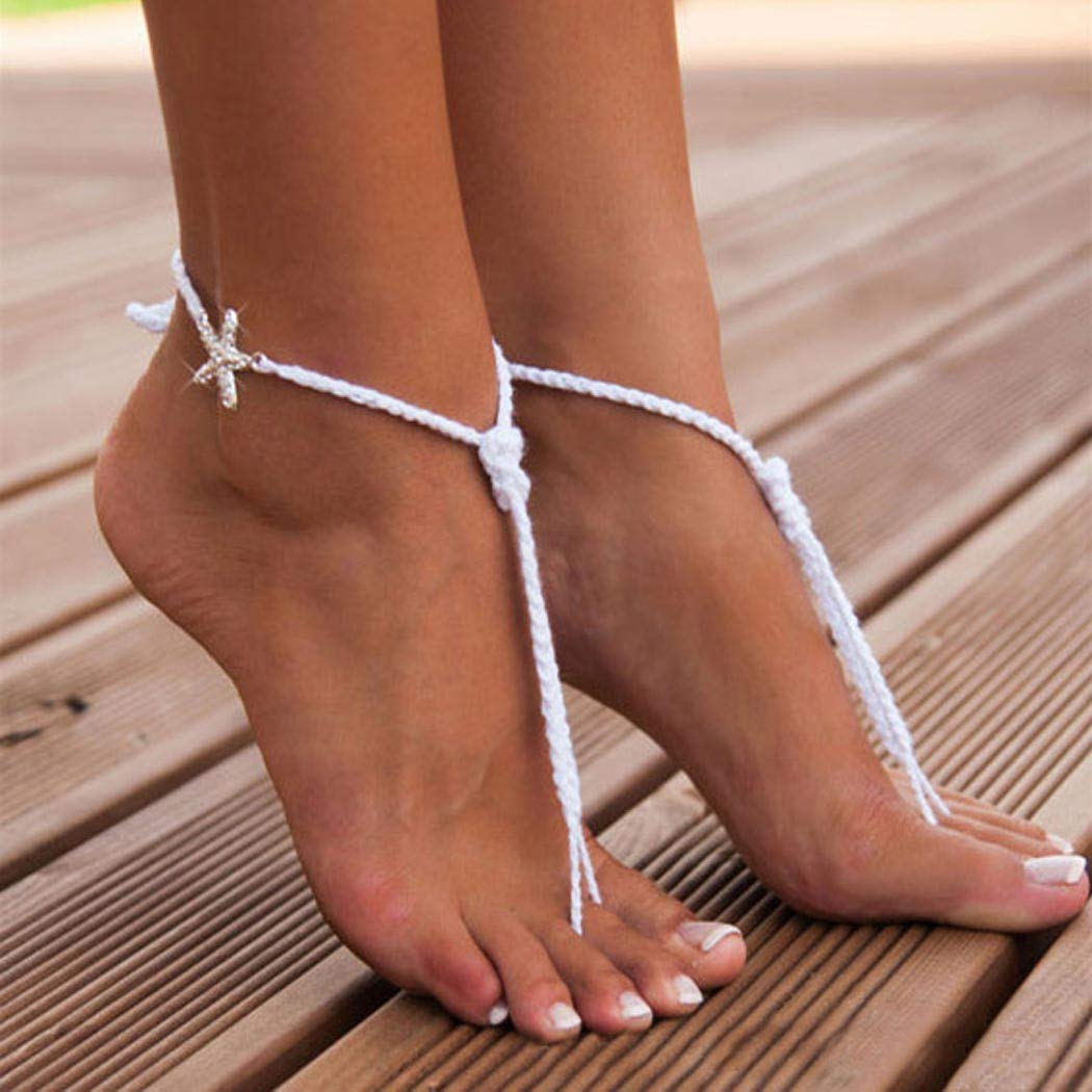 Aetorgc Beach White Anklet Starfish Bridal Barefoot Sandals Strand Braided Foot Adjustable Jewelry for Women and Girls