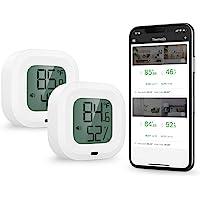 ORIA Termómetro Higrómetro Digital Bluetooth,2PCS Sensor Inalámbrica de Humedad de Temperatura con Pantalla LCD,Estación…