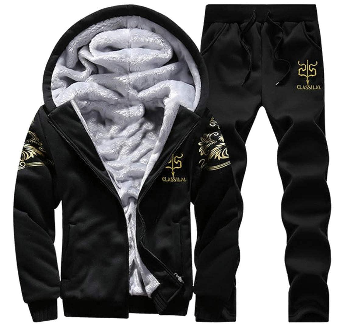 C/&H Mens Fleece 2 Pcs Activewear Hoodies Fall Winter Trousers Tracksuits