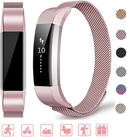 Without Tracker Meliya Replacement Bands Compatible with Fitbit Charge 3//Charge 3 SE Bands,Stainless Steel Mesh Metal Wristbands for Women Men