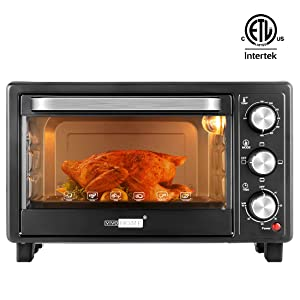 VIVOHOME 6-Slice Countertop Toaster Oven with Bake Pan, Broil Toasting Rack and Drag Hook, Oven Mitten Included, Stainless Steel, Black