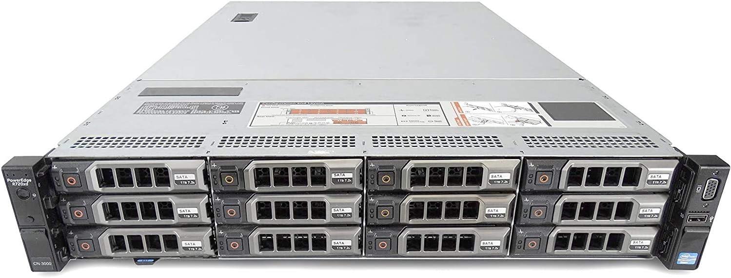 72TB 12X 6TB SAS Dell PowerEdge R720XD Server 2X E5-2690v2 3.00GHz H710 256GB RAM Renewed 10 Cores