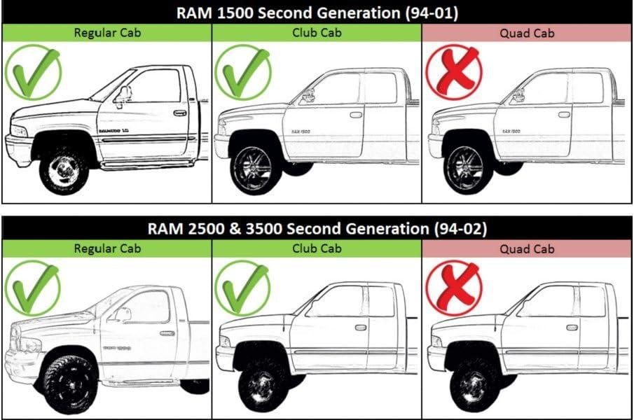 Cab Corner Panel Dodge Ram 94-01 1500 94-02 2500 3500 2 door Standard Cab PAIR
